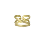 Linear X Ring - gold tone - Small Things Fair Trade
