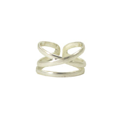 Linear X Ring - silver - Small Things Fair Trade