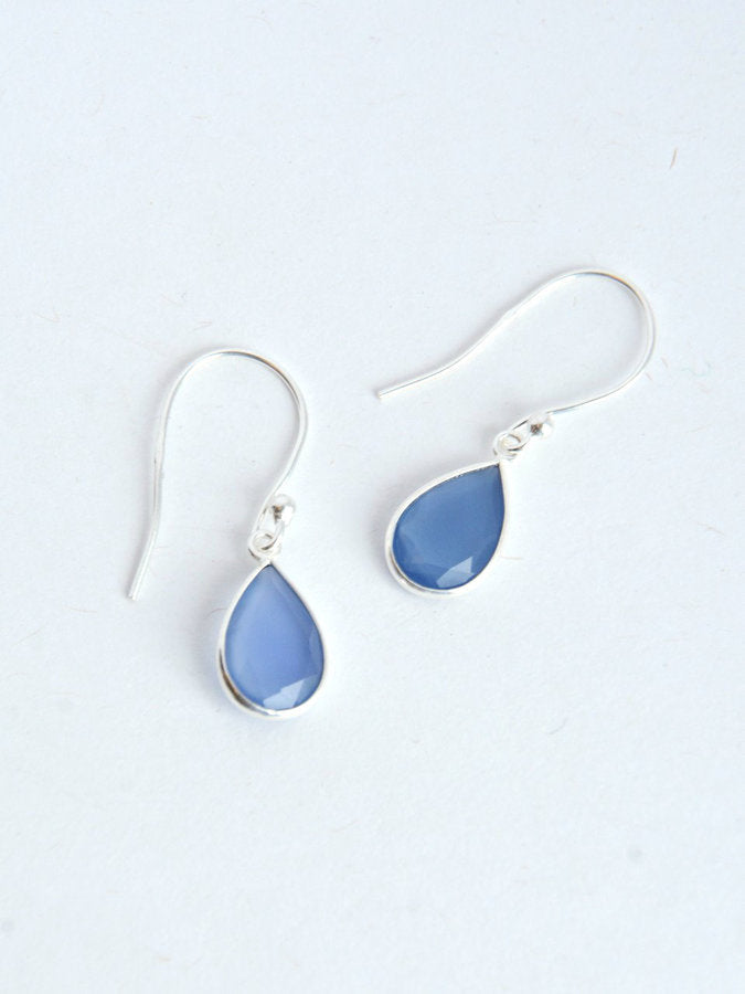 Raindrop Sterling Earrings - blue chalcedony or rose quartz - Small Things Fair Trade
