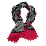 Paisley Border Scarf - black - Small Things Fair Trade