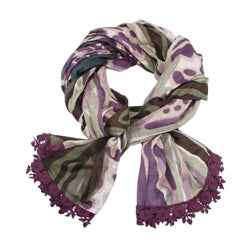 Watercolor Scarf with Crochet Trim - plum - Small Things Fair Trade