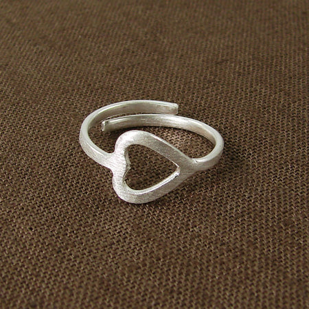 Heart Wraparound Ring - silver plated - Small Things Fair Trade