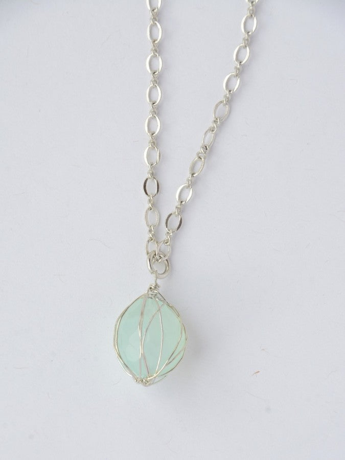 Teal Wrap Stone Necklace - Silver - Small Things Fair Trade