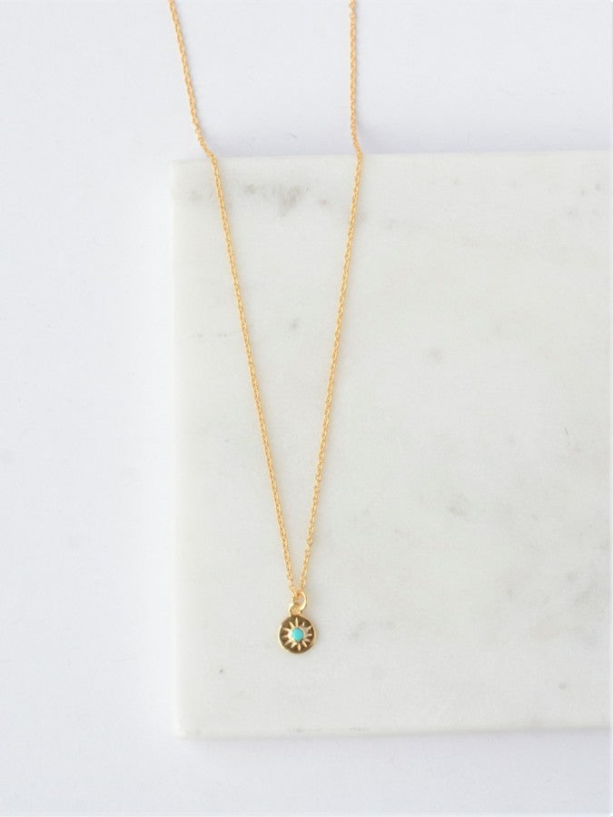 Turquoise Starburst Necklace - 14K Gold - Small Things Fair Trade