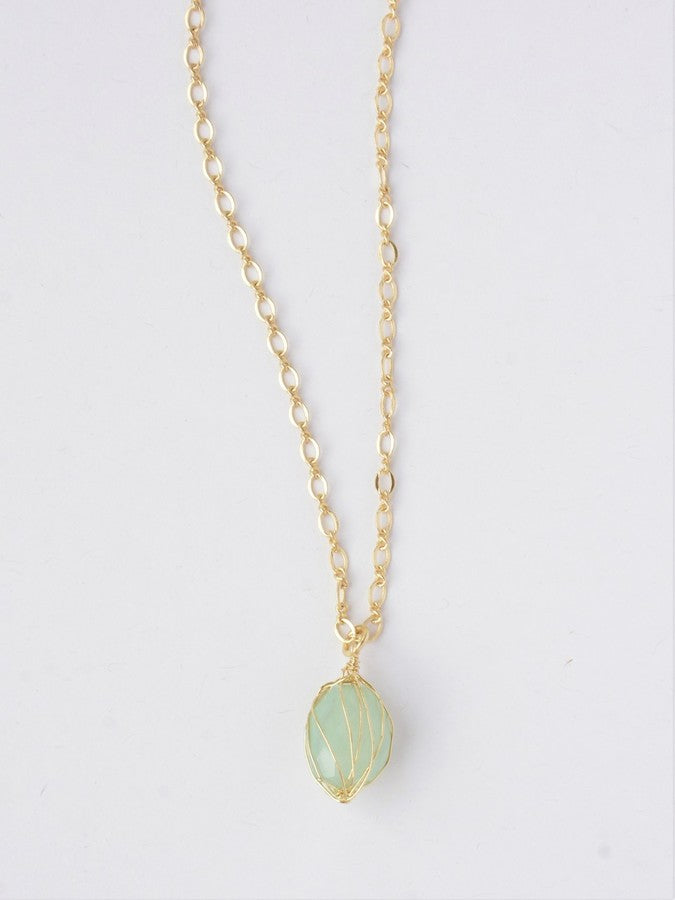 Teal Wrap Stone Necklace - Brass - Small Things Fair Trade