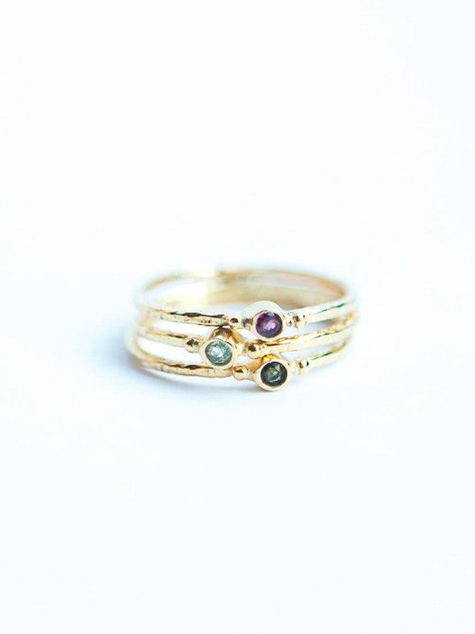 Tiny Stone Gold Stacking Ring - Turquoise or Tourmaline - Small Things Fair Trade