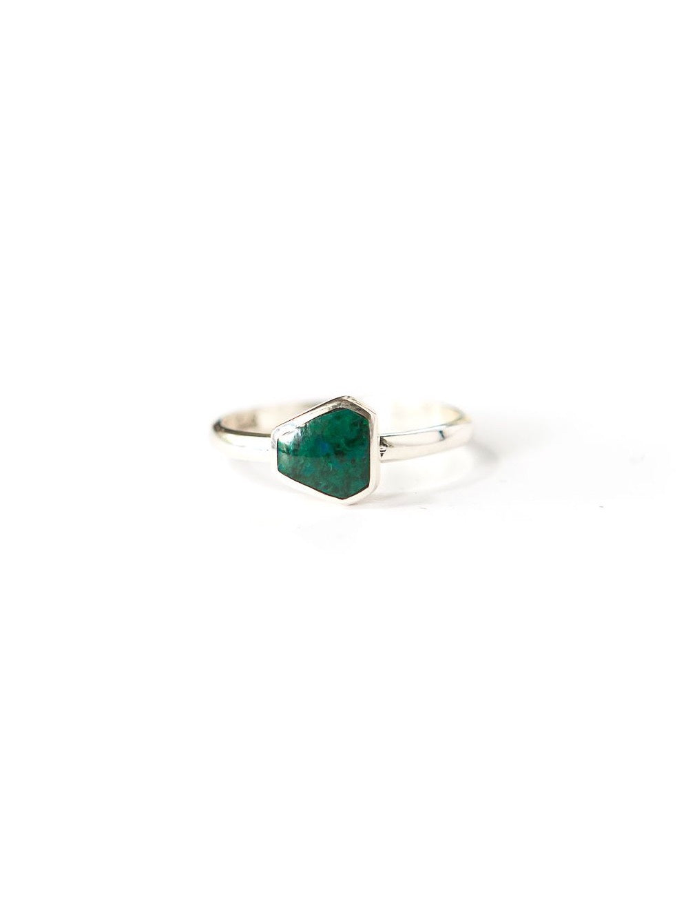Geometric Stone Ring - Sterling with Sea Green Chrysocolla