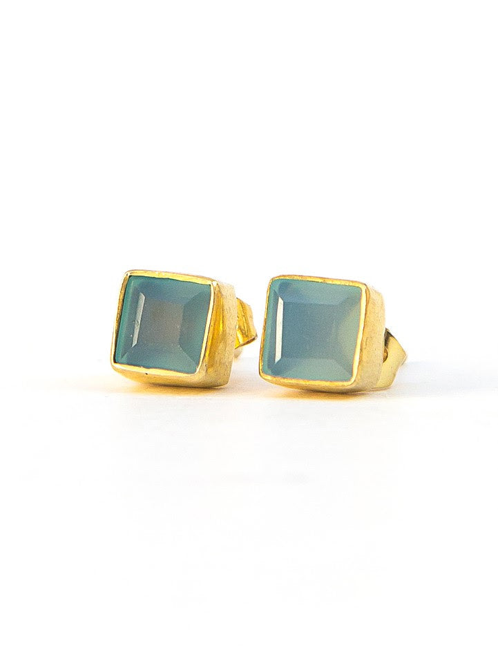 Crystal Waters Studs - Brass/Chalcedony