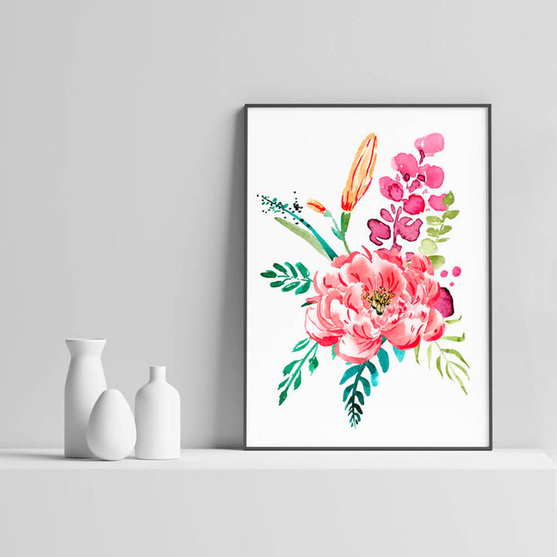Bouquet Pivoine | Aquarelle