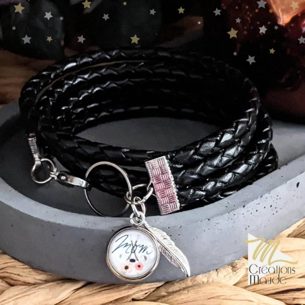 Bracelet de cuir noir | Hockey MOM