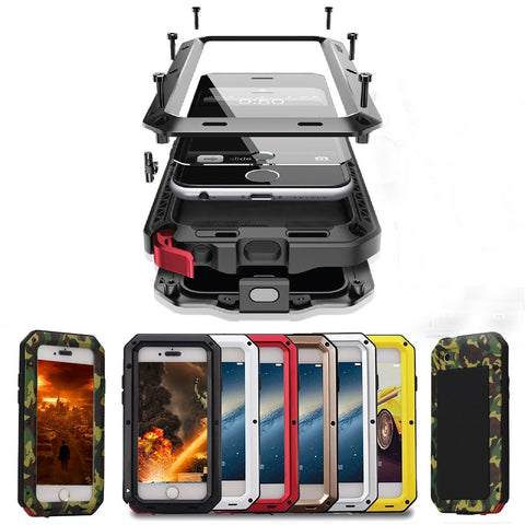 Shockproof Phone Cases for iPhone X XS Max 8 7 6 6S Plus 5 5S SE Waterproof PC+TPU 3-Layers Hybrid Full Protect Case Phone Shell