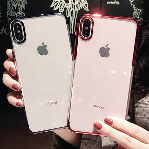 Luxury Transparent Plating Frame Phone Case for iPhone X XS XR XS Max 6 6S 7 8 Plus Clear Soft TPU Silicone Back Cover