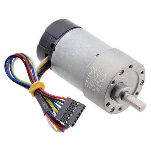 6.3:1 Metal Gearmotor 37Dx65L mm 12V with 64 CPR Encoder (Helical Pinion)