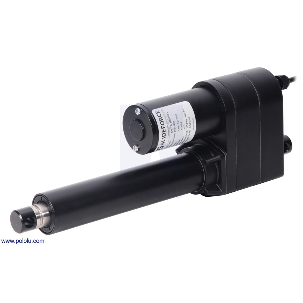 "Glideforce LACT6-500APL Industrial-Duty Linear Actuator with Acme Drive and Feedback: 250kgf, 6"" Stroke, 0.66""/s, 12V"