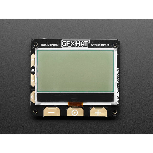 Pimoroni GFX HAT - 128x64 LCD Display + RGB Lite & Touch Buttons - RGB Backlight and 6 Touch Button