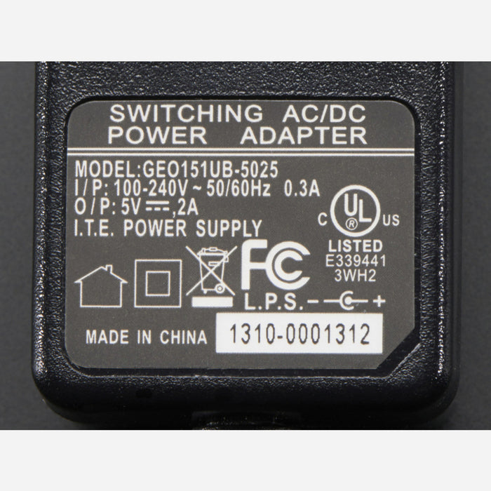 5V 2A (2000mA) switching power supply - UL Listed