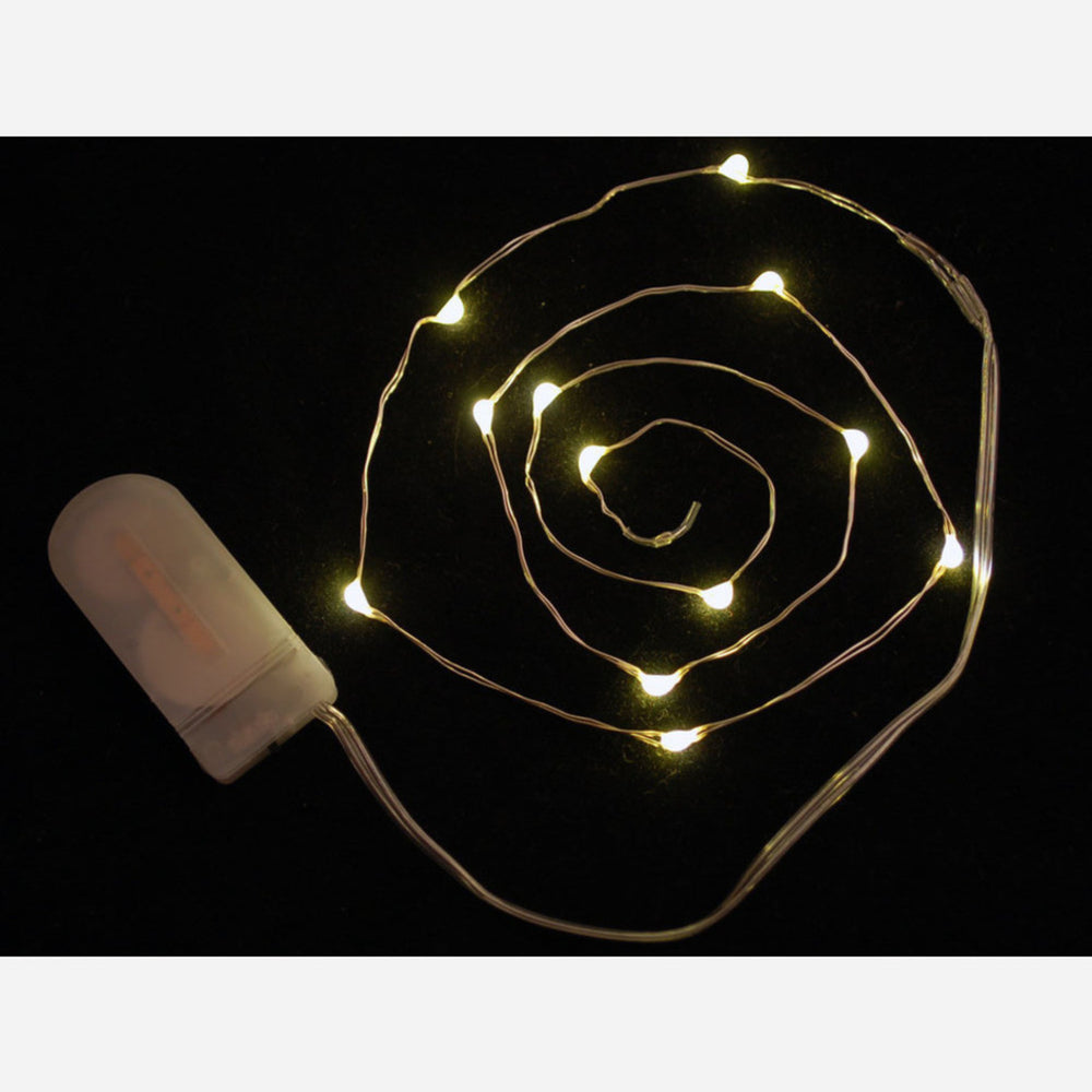 Wire Light LED Strand - 12 Warm White LEDs + Coin Cell Holder