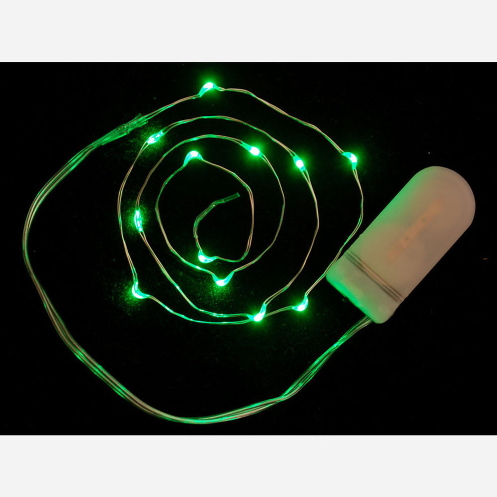 Wire Light LED Strand - 12 Green LEDs + Coin Cell Holder