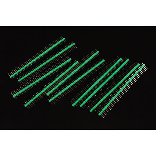 "Arduino Male Pin Headers | 0.1"" (2.54 mm) Straight Green"