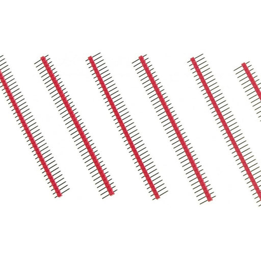 "Arduino Male Pin Headers | 0.1"" (2.54 mm) Straight Red"
