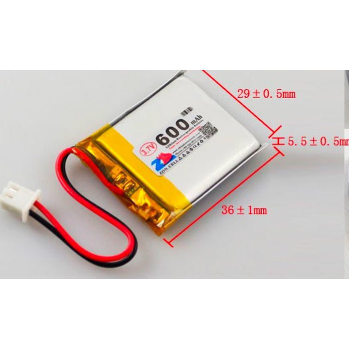 Lithium Ion Polymer Battery - 3.7v 600mAh