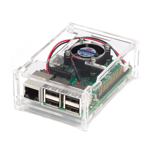 Transparent Acrylic Case + Fan For Raspberry Pi 3B+