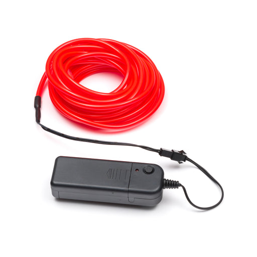 5M Flexible el wire with battery holder 5mm - Red