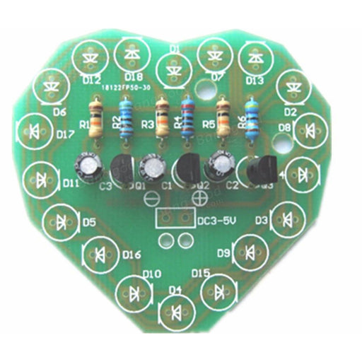 Learn to solder - DIY Heart Shaped Three Colors LED Flashing Light