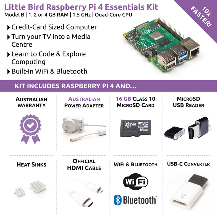 Little Bird Raspberry Pi 4 Essentials Kit (4GB)