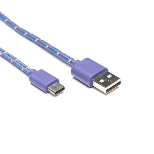 USB Patterned Fabric Cable - USB-C 1m