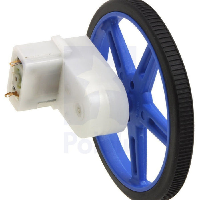 120:1 Mini Plastic Gearmotor, Offset 3mm D-Shaft Output