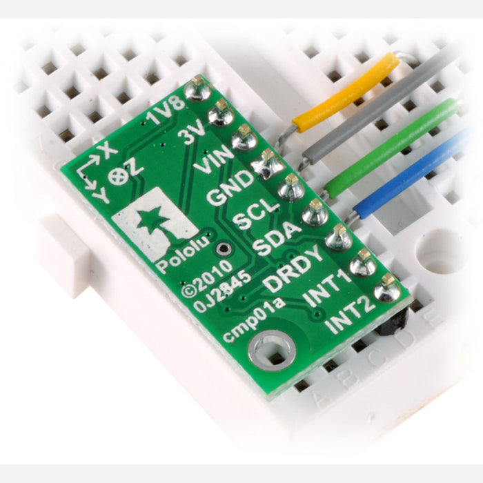 LSM303DLM 3D Compass and Accelerometer Carrier with Voltage Regulators