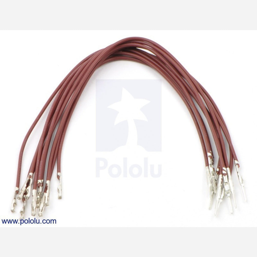 "Wires with Pre-crimped Terminals 10-Pack M-F 6"" Brown"