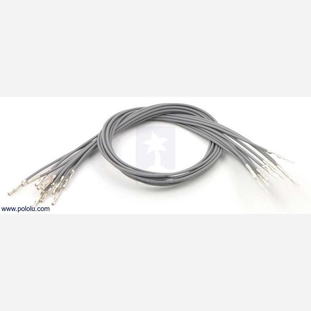 "Wires with Pre-crimped Terminals 10-Pack M-F 12"" Gray"