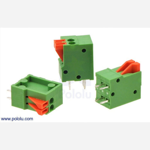 "Screwless Terminal Block: 2-Pin, 0.1"" Pitch, Top Entry (3-Pack)"