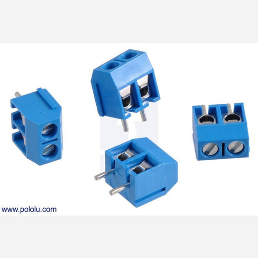 Screw Terminal Block: 2-Pin, 5 mm Pitch, Side Entry (4-Pack)