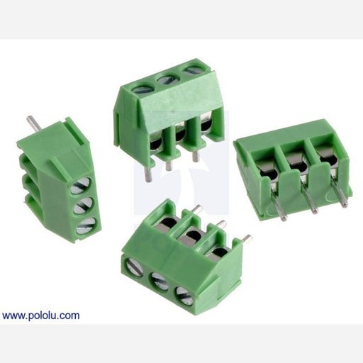 Screw Terminal Block: 3-Pin, 3.5 mm Pitch, Side Entry (4-Pack)