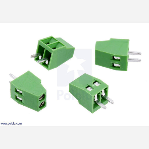 "Screw Terminal Block: 2-Pin, 0.1"" Pitch, Side Entry (4-Pack)"