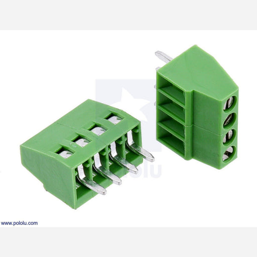 "Screw Terminal Block: 4-Pin, 0.1"" Pitch, Side Entry (2-Pack)"