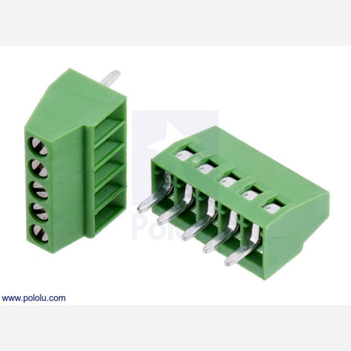 "Screw Terminal Block: 5-Pin, 0.1"" Pitch, Side Entry (2-Pack)"