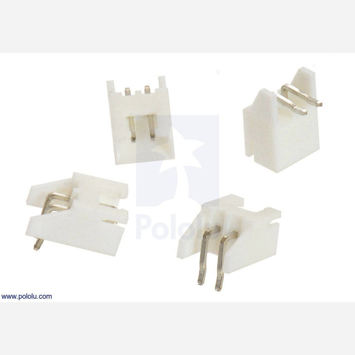 2 5 mm JST XH-Style Shrouded Male Connector: 2-Pin, Right Angle Extended  (4-Pack)