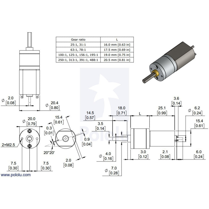 25:1 Metal Gearmotor 20Dx41L mm 6V with Extended Motor Shaft