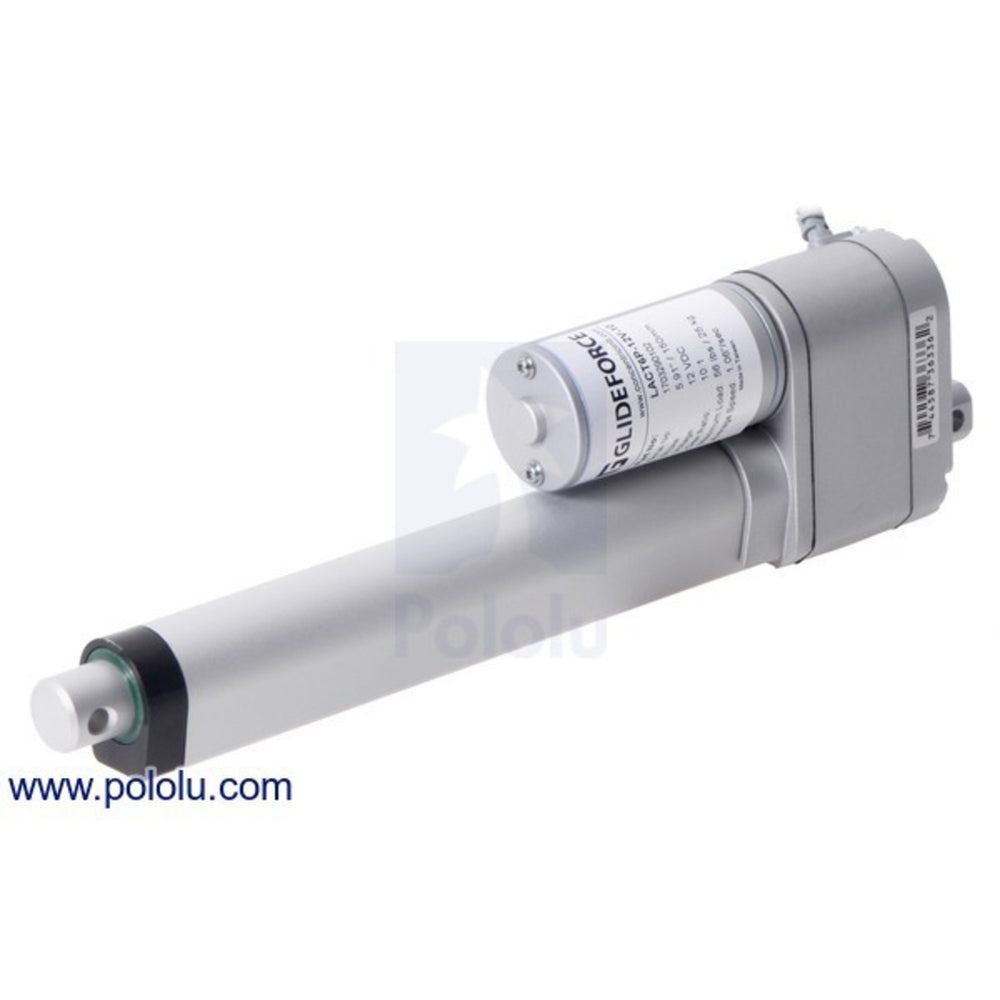 "Glideforce LACT6P-12V-10 Light-Duty Linear Actuator with Feedback: 25kgf, 6"" Stroke, 1.1""/s, 12V"