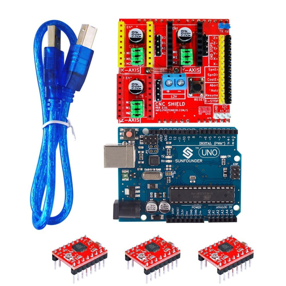 3D0072 FR4 Expansion Board + 3-Stepper Motor Drives + UNO R3 Board Kit for Arduino