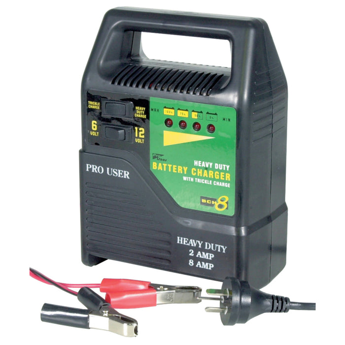 6V & 12V Heavy Duty 8A Car Battery Charger with Trickle Charge