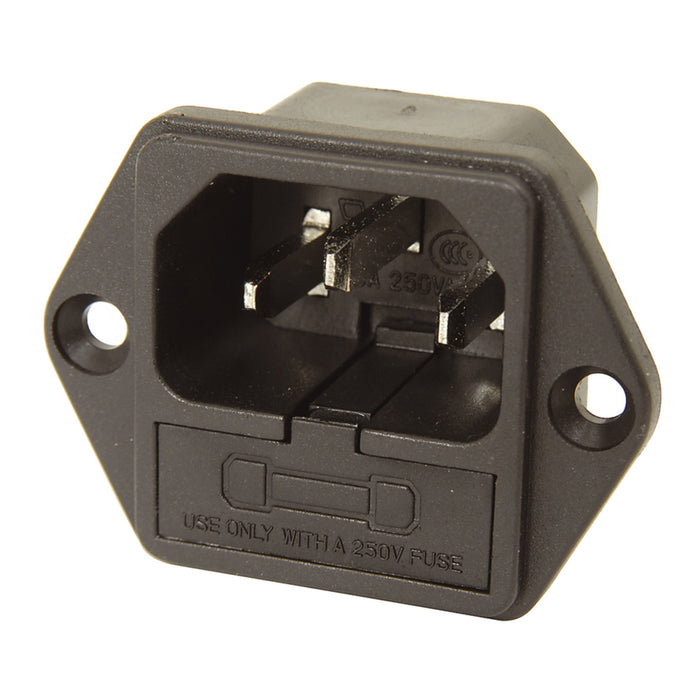 IEC Male Chassis Power Plug with Fuseholder