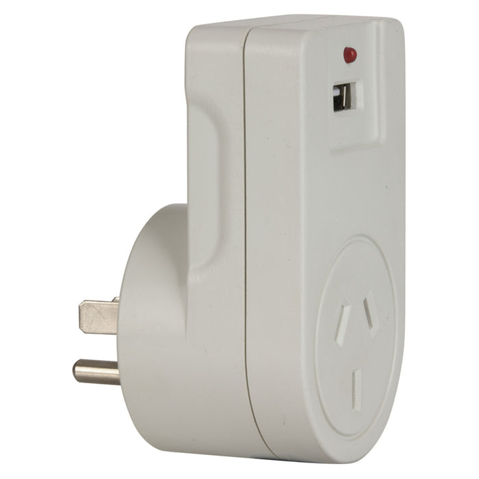 USA 3-Pin Mains Travel Adaptor with USB