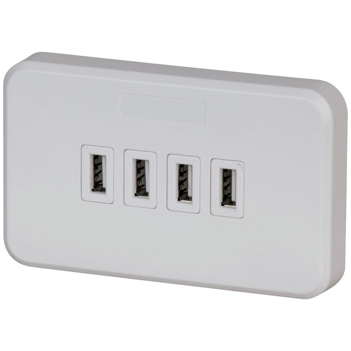 USB Wallplate 240V GPO with 4 x 3.15A USB Sockets