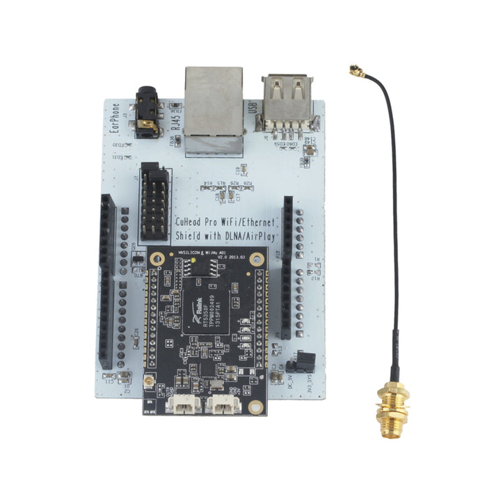Wi-Fi/Ethernet Shield with Airplay/DLNA Audio for Arduino