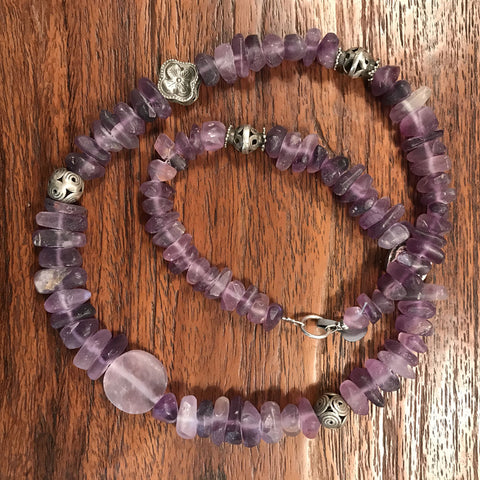 Afghan Fluorite Necklace with antique silver beads